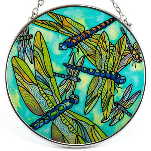 """Dragonfly Gathering Suncatcher Hand Painted Glass By AMIA Studios 4.5"""""""