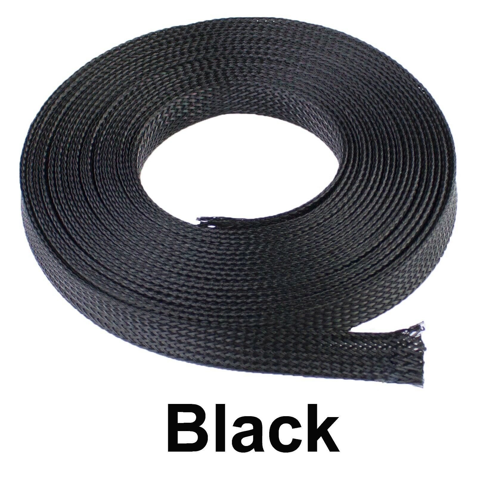ALL SIZES & COLORS 5' FT - 100 Feet Expandable Cable Sleeving Braided Tubing LOT Black