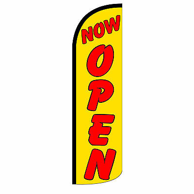 Now Open Yellow Windless Advertising Sign Feather Flag Only Banner 30 Wider