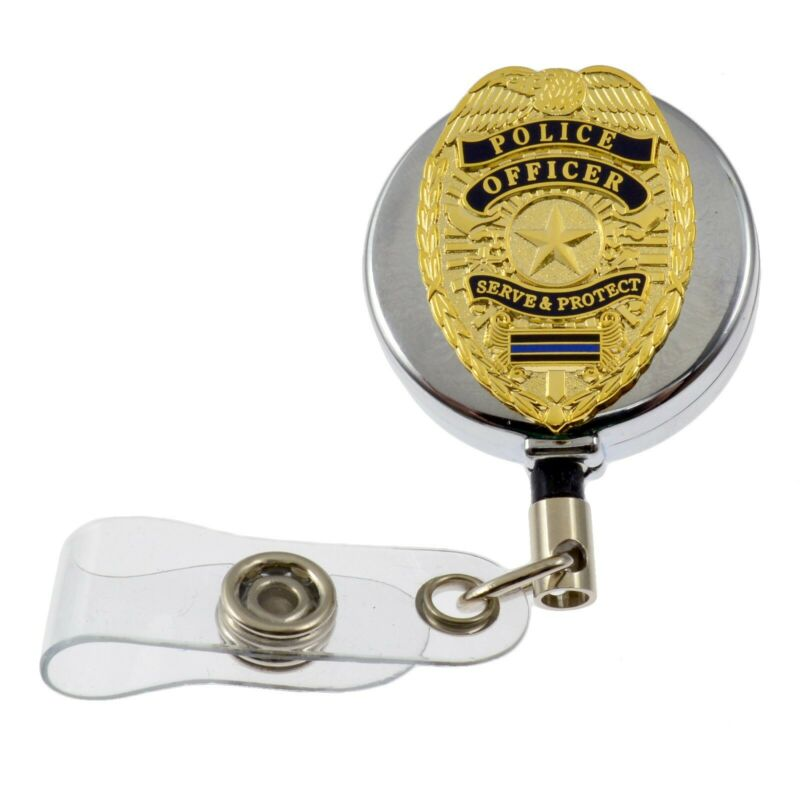 Police Officer Badge Blue Line Retractable Security ID Card Holder Reel