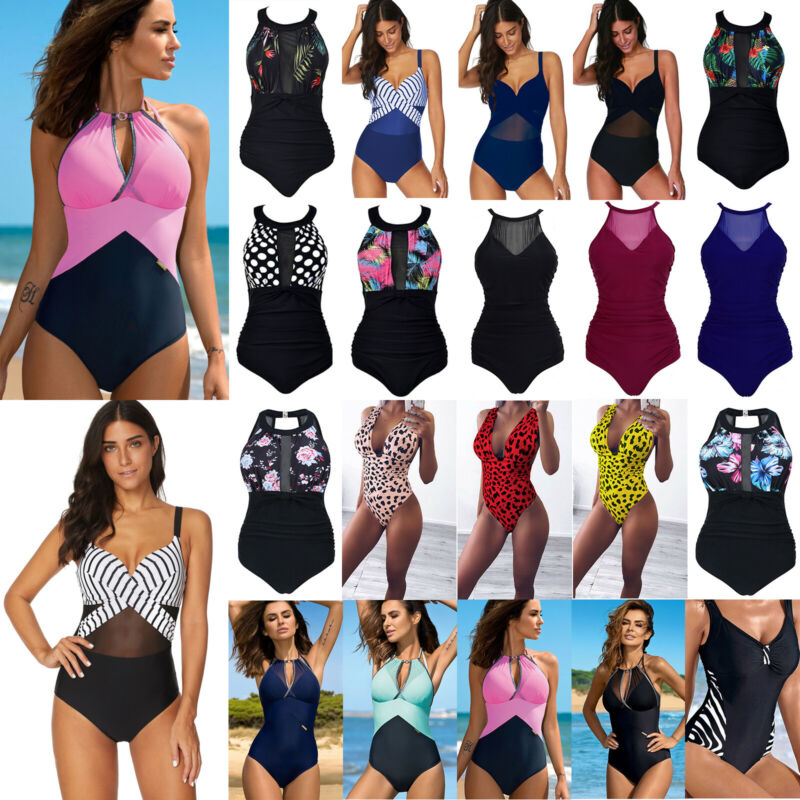 Damen Push Up Gestreift Monokini Einteiliger Strand Slim Schwimmanzug Bademode