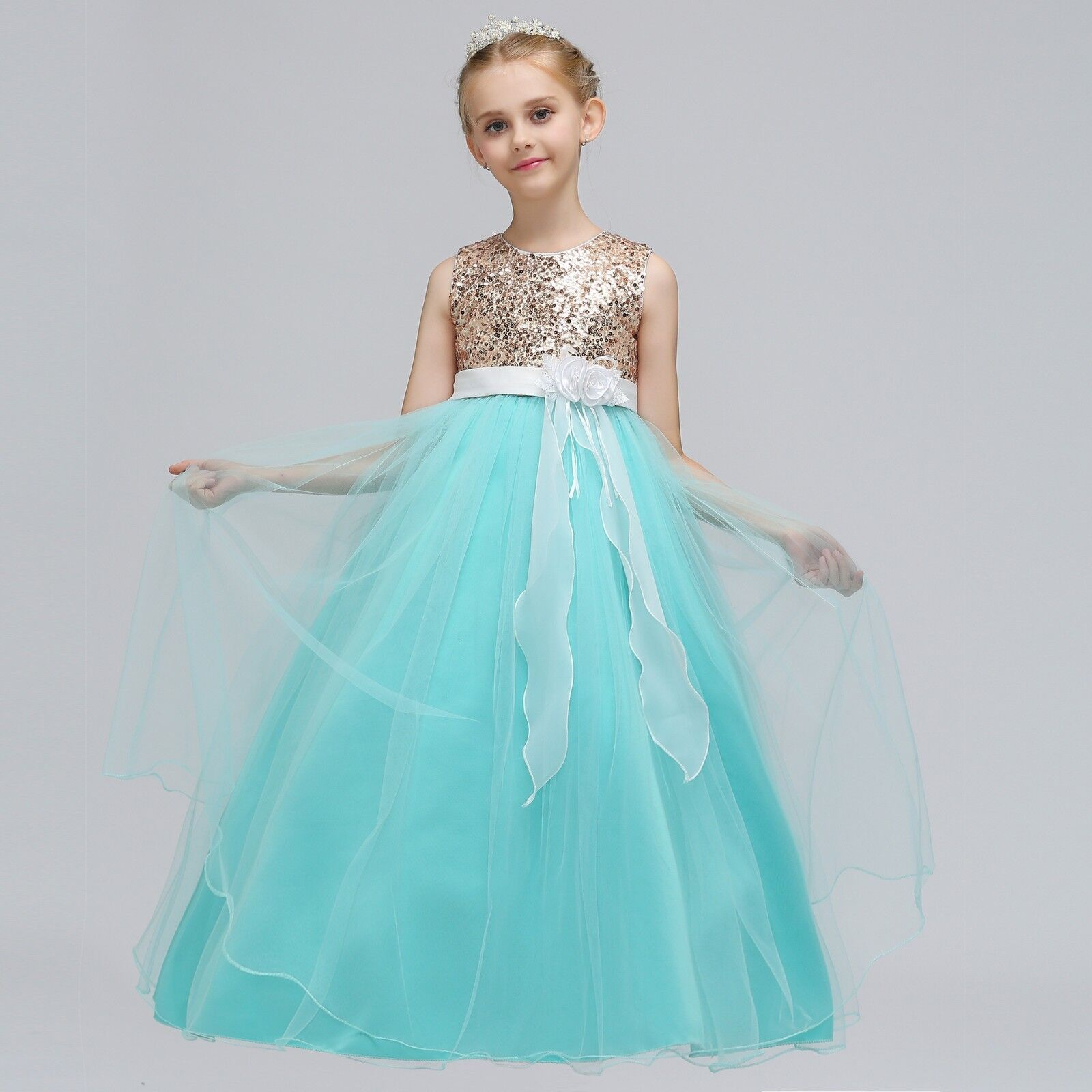 Childrens Girls 5-Layer Gold Sequined Tulle Fancy Wedding Party ...