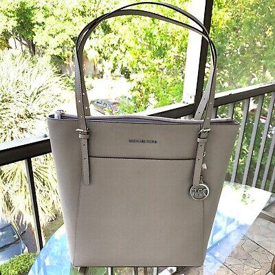 Michael Kors Women Large Leather Tote Bag Handbag Purse Shoulder Messenger Grey