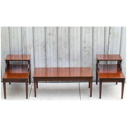 Vintage Mid Century MERSMAN 7640 2-Tier Mahogany Wood Step End & Coffee Tables