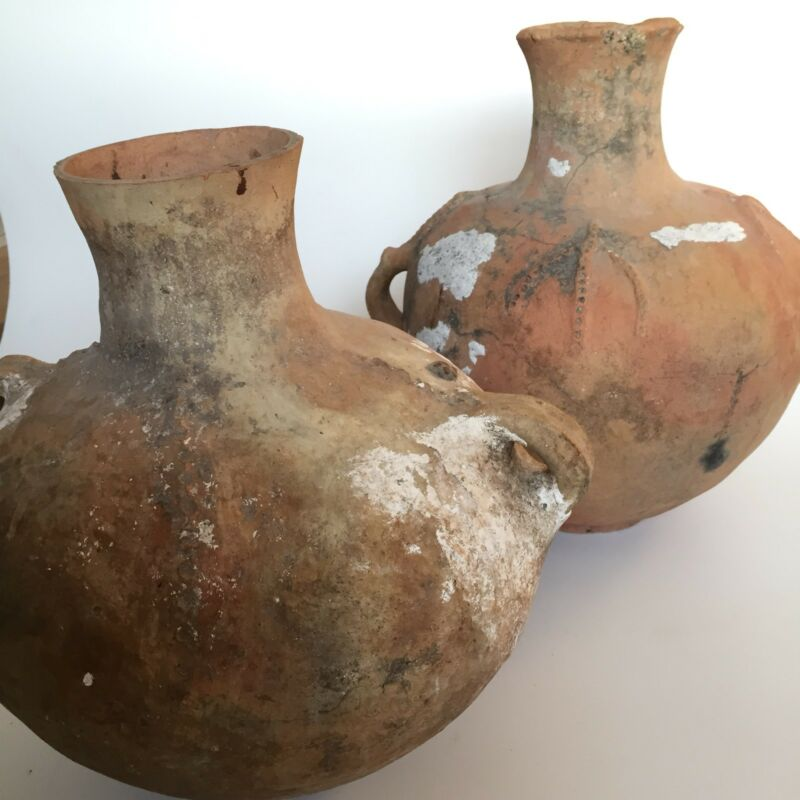 Two Large Ancient Pottery Vessels Double Handled Narrow Neck Turkey Holy Land