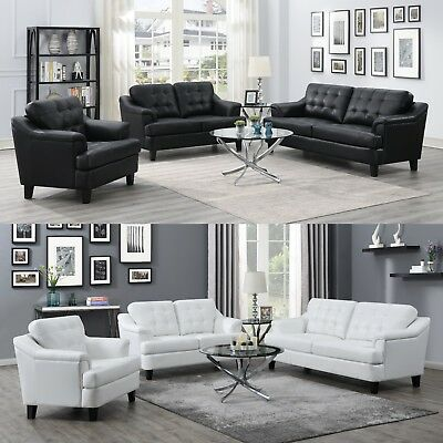 Modern 3-Piece Sofa Loveseat Chair Set Black or White Performance Faux Leather ()