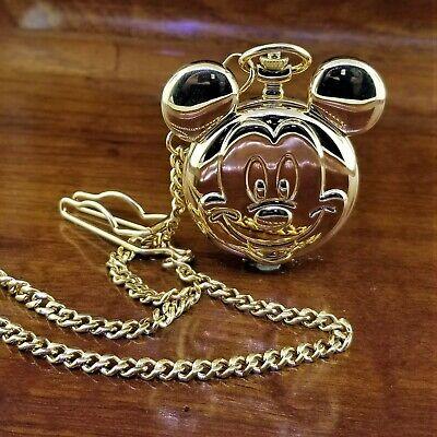 New RARE Gold TN Lorus By Seiko Disney Mickey Mouse Ears Icon Pocket Watch