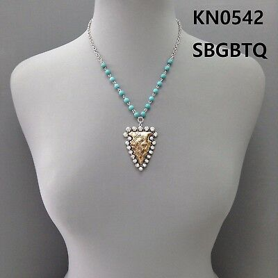 Silver Finished Turquoise Beads Gold Arrowhead Ab Rhinestones Pendant Necklace