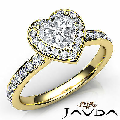 Cathedral Halo Pave Set Heart Cut Diamond Engagement Gold Ring GIA F VVS2 0.95Ct
