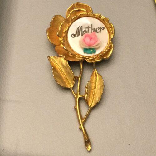 Stunning Vintage Estate Goldtone MOP Rose Brooch 'Mother'