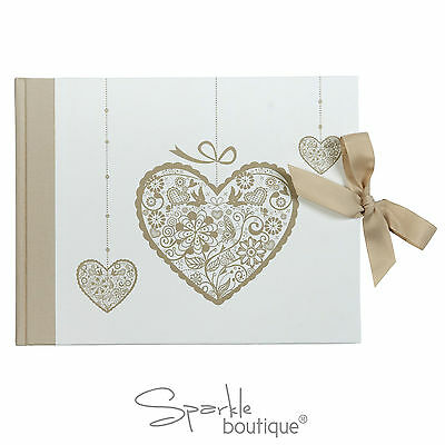 Luxury Wedding Guest Book - Ivory & Gold Theme - Beautiful Vintage Heart Design