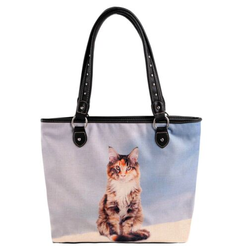 MONTANA WEST Cats Collection Art Canvas Tote Handbag 980-8112 Black Trim~