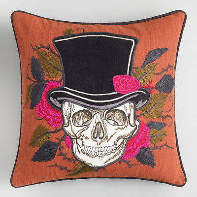 SKULL With Top Hat Halloween Decor Pillow Roses Thorns Orange Black Green 18