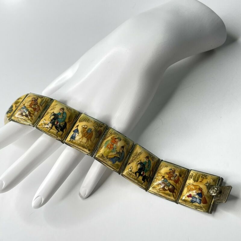 Antique Silver Plate Hand Painted 8 Panel Story Bracelet