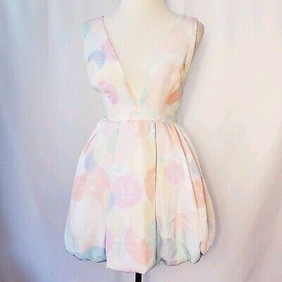 Nasty Gal Womens Sz XS Deep V-neck Strappy Balloon Print Mini Dress Party Pastel