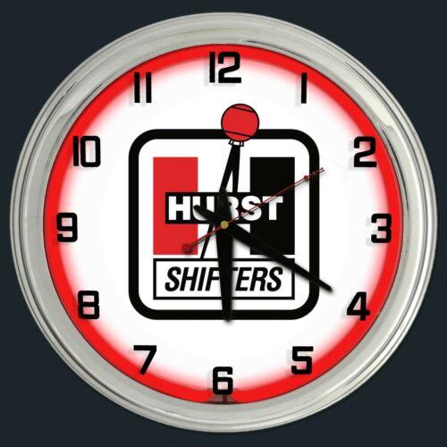 "16"" Hurst Shifters Red Neon Clock Man Cave Garage Shop Bar Store Racing"