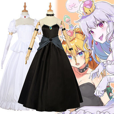Bowsette Princess Bowser Peach Teresa Boos Cosplay Costume Women Dress Suit Set