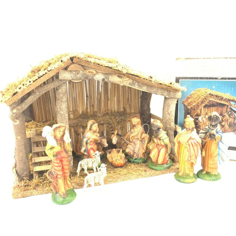 Vtg Sears Nativity Set Ceramic 1970s Hand Painted Complete In Box Wood Creche