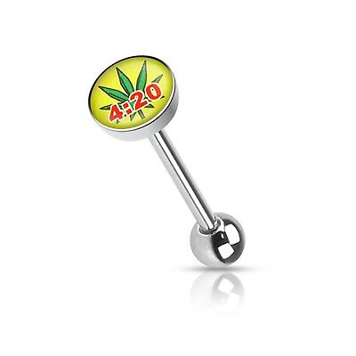 - Tongue Ring Logo Weed Pot Leaf 4:20 14 Gauge 5/8