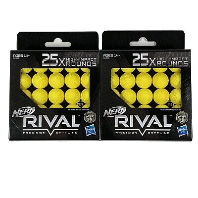 Nerf Rival Precision Rounds 50 Count (25 x 2) High Impact Rounds Yellow Balls