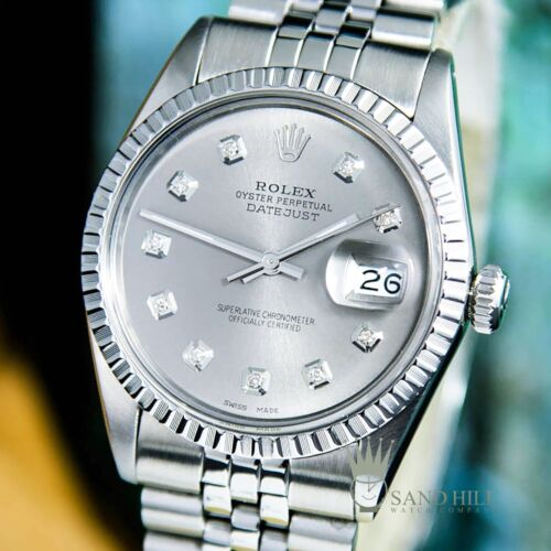 Rolex - Rolex DateJust 16030 Grey Slate Rhodium Diamond Dial Sapphire 36mm Mens #1594
