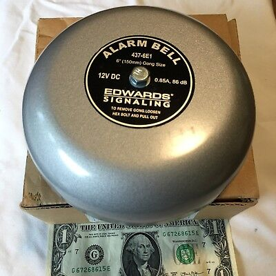 New Edwards Alarm Bell 437-6e1  12 Volt Dc. 6. For Fire Alarm Or Other Use