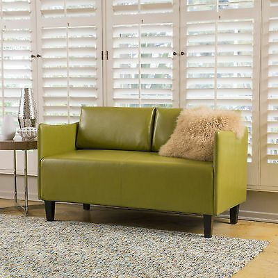 Nile Green Leather Loveseat