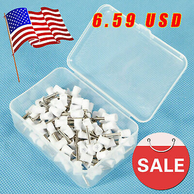 100 X Dental Rubber Prophy Tooth Polish Polishing Cups Brush Latch Type White F4