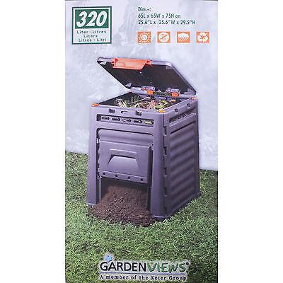 Keter Komposter 320 Liter Gartenkomposter Kompost Thermokomposter schwarz