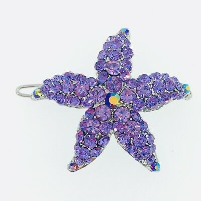 Hair Clip use Swarovski Crystal Hairpin Starfish Seastar Mermaid Elegant Purple