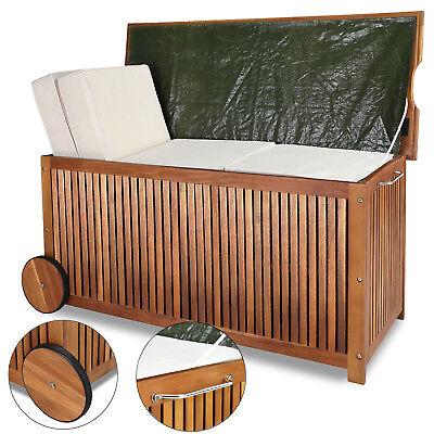 Auflagenbox Holztruhe Gartenbox Gartentruhe Kissenbox Truhe Holz 117cm Holzbox