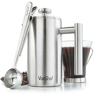 VonShef 3 Cup French Press Traitorous Walled Stainless Steel Cafetiere Coffee Maker