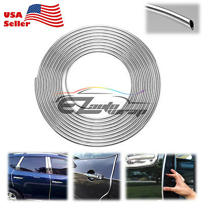 "180"" Long Silver Chrome Car Door Edge Guard Molding Trim Protectors Strip 15ft"
