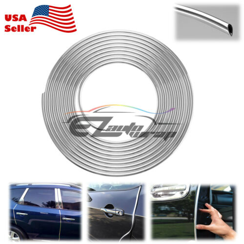 "Car Parts - 180"" Long Silver Chrome Car Door Edge Guard Molding Trim Protectors Strip 15ft"