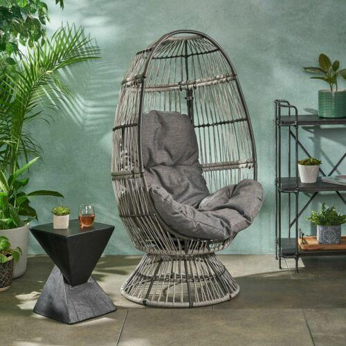 Aceson Outdoor Freestanding Wicker Swivel Egg Chair Home & Garden