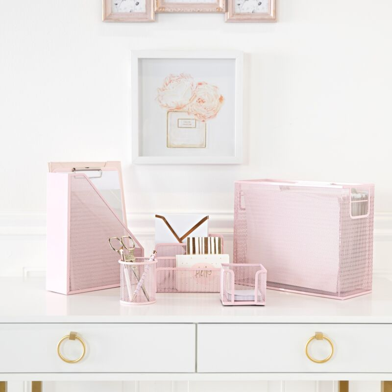 Blu Monaco Pink 5 Piece Cute Desk Organizer Set