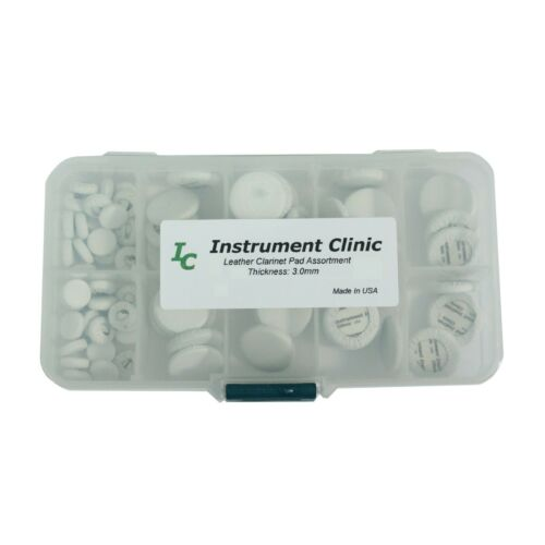 Instrument Clinic White Leather Clarinet Pad Assortment (50 Pads) Made in USA!