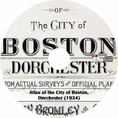 1934 Atlas of Dorchester, Boston, Massachusetts ~ History Maps Book on CD