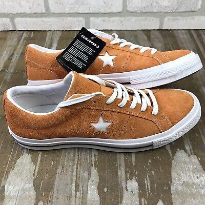 Converse One Star Sz 12 Mandarin Orange/White Suede Classic Casual Shoe 161574C