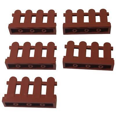 5 NEW LEGO Fence 1 x 4 x 2 Paled (Picket) Reddish Brown