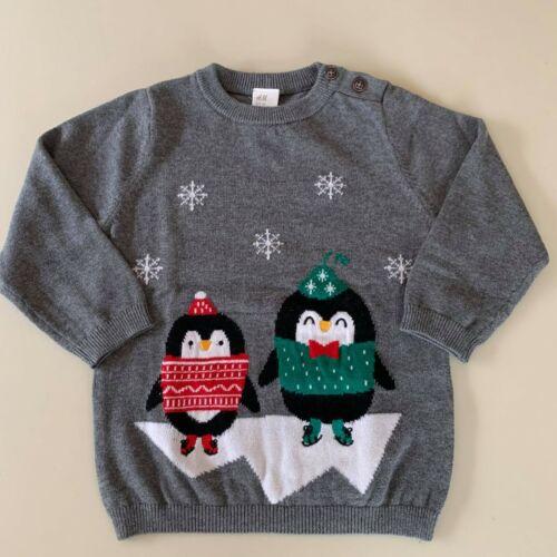 "H&M Baby Girls-Boys Cotton ""PENGUIN"" Sweater.  9-12 Months. 80 cm. Warm - Comfy!"