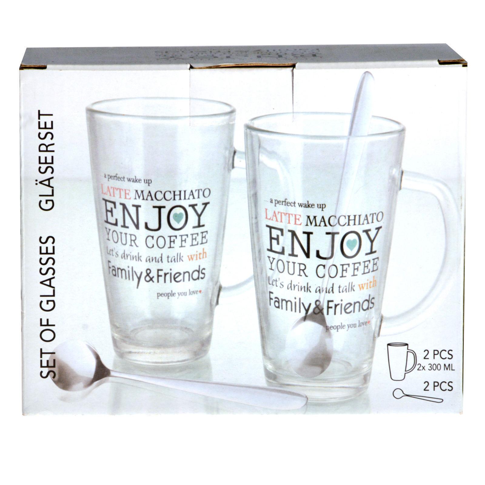 Glas Tasse 2 Gläser Set Enjoy Latte Macchiato mit HenkelBecher Kaffee