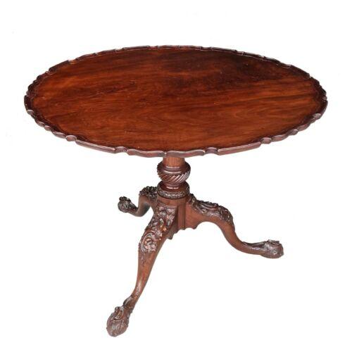 English George III 18th C. Carved Mahogany Pie Crust Table