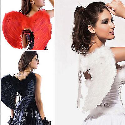 Black Halloween Fairy Wings (Black Or White Fairy Angel Feather Wings Halloween Fancy Dress Costume)