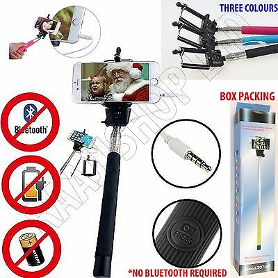 TELESCOPIC SELFIE STICK MONOPOD WIRED REMOTE MOBILE HOLDER FOR IPHONE 5 7 S PLUS