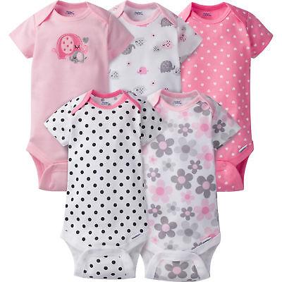 Gerber Baby Girl 5 Pack Onesies, Pink Flowers and Bear, Short Sleeve (5 Pack Bodysuits)