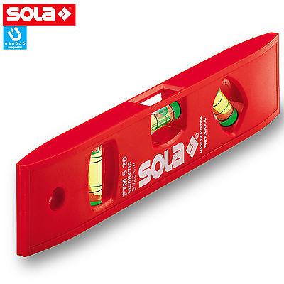 SOLA Kunststoff Wasserwaage PTM 5 Magnet Torpedo Wasserwaagen Magnet 20cm 45ø