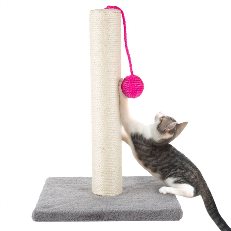 17 Inch Sisal Rope Cat Kitten Scratching Post Plush Base with Toy Ball