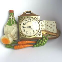 Vintage Burwood Products New Haven Wall Clock Kitchen Wine & Cheese WORKS