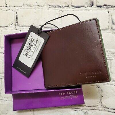 TED BAKER LONDON Men's Bi-Fold Wallet Chocolate Brown Leather NEW Baker Bi Fold Wallet